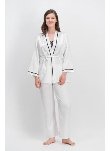Arnetta Arnetta Gold Rose Ekru Kadın Askılı Saten Pijama Takımı, Sabahlık 3'Lü Takım Ekru